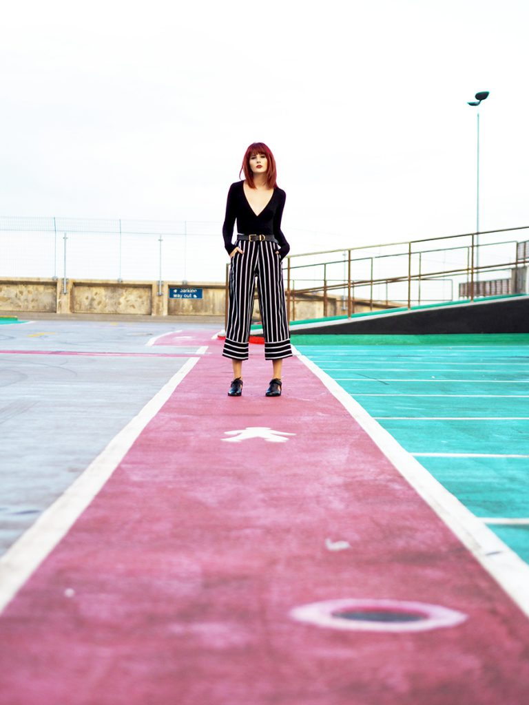 Fashion Blogger Wonderful You wears In the style black stripey culottes